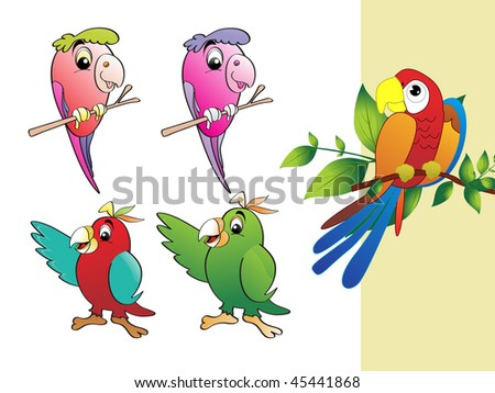 background with collection of colorful parrot