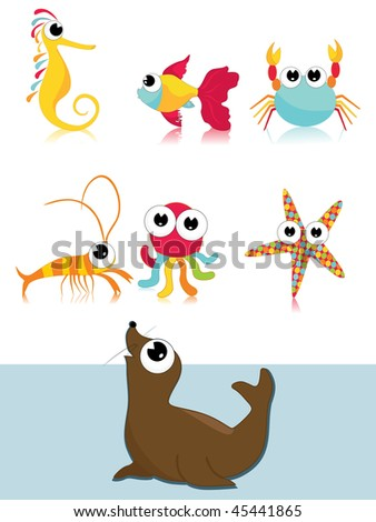 background with collection of cute sea animal with background