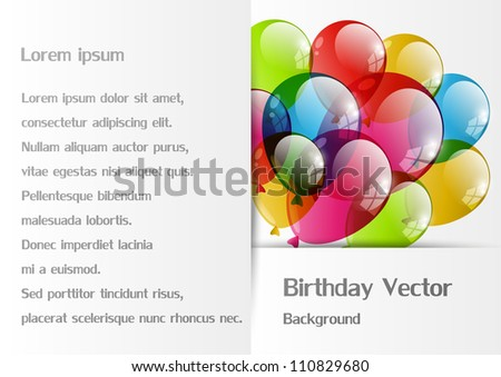 Background with color balloon with place for text