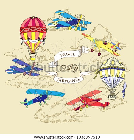Background with Colored Airplanes and Hot Air Balloons. Hand drawn sky with clouds vector illustration