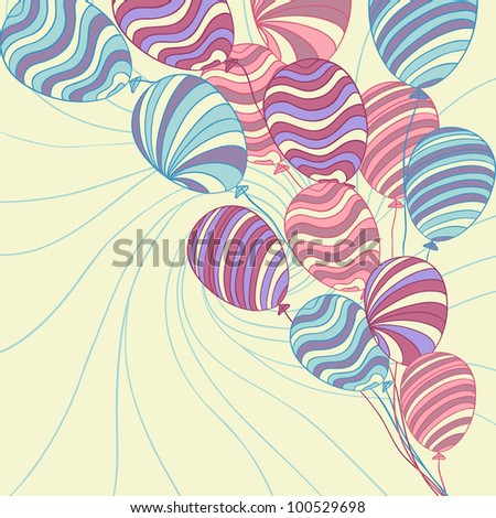 Background with colored hand drawn vector balloons.
