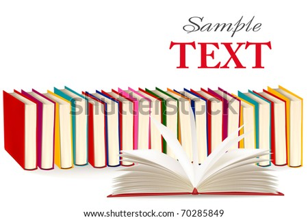 Background with colorful and open books. Vector illustration.