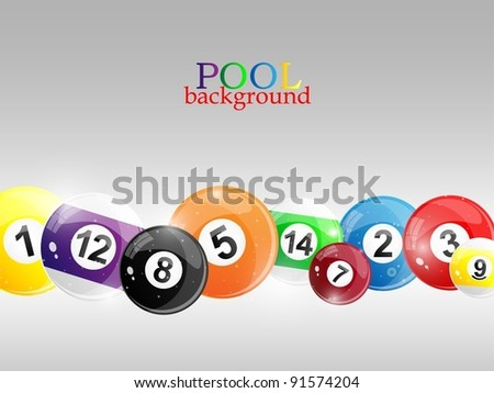 Background with colorful billiard balls. Vector illustration.