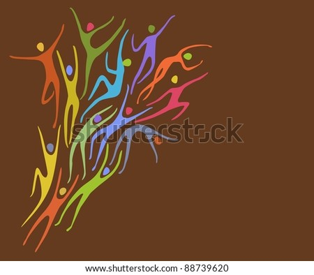 Background with colorful figures in motion - stock vector