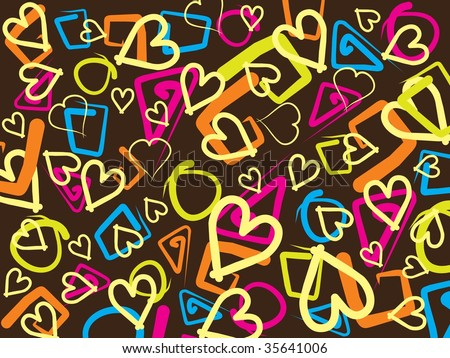 Background With Colorful Heart Shape , Vector Wallpaper - 35641006