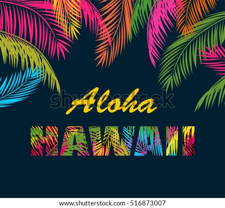 background with colorful palm