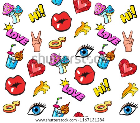 Background with colorful pop art style fashion stickers. Mushrooms, lips, hand gesture, eye and other elements. Comic book style vector stickers, pins, patches, illustrations #1167131284