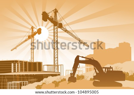 Background with cranes, scaffolding and a tractor in the foreground