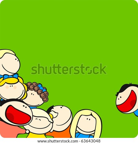 Background with cute cartoon kids - stock vector