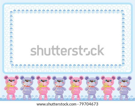 Background with cute little bears,for boy