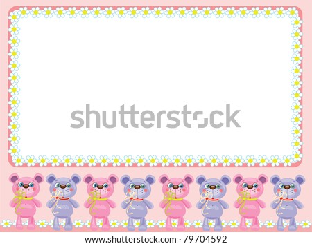 Background with cute little bears,for girl.