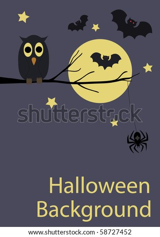 Background with cute owl, spider and bats for your Halloween design