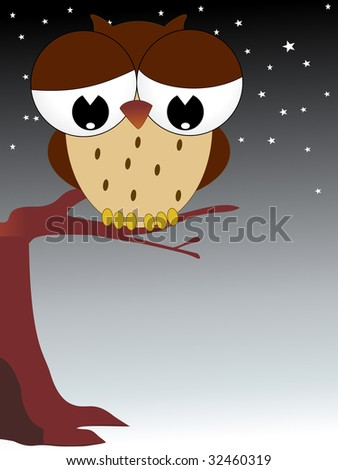 background with cute owl, vector illustration