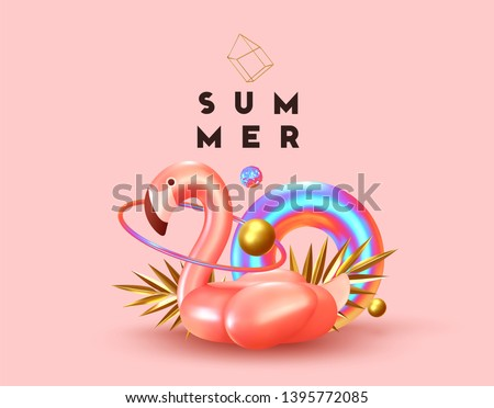 Background with 3d objects, bird shape pink flamingo, torus lifebuoy color gradient, golden balls and rings, gold palm leaves. Trendy banner, poster, website cover. Summer Minimal Abstract Background stock photo