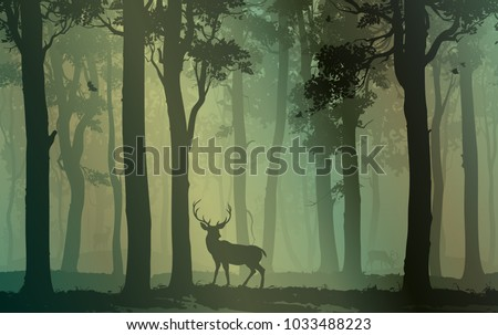 Background with deciduous forest, birds and deer. Vector illustration