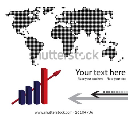 Background with dotted world map and progress chart