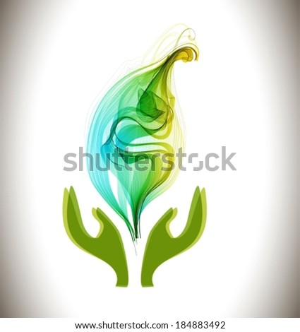 Background with ecological environment icon -  hands and green abstract leaf, VECTOR