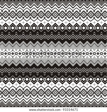 Background with ethnic motifs seamless pattern in black and white