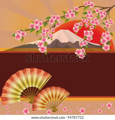 Background with fan, mountain and sakura blossom - Japanese cherry tree. Place for text