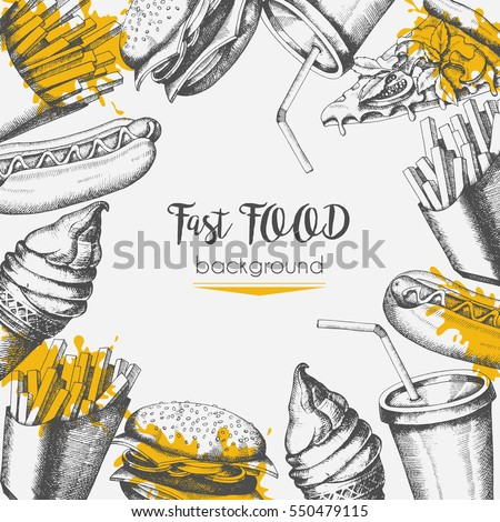 background with fast food hand...