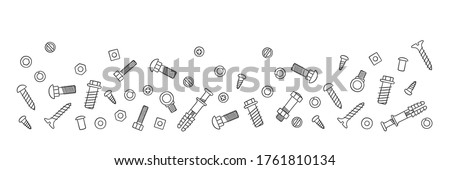 Background with fasteners. Bolts, screws, nuts, dowels and rivets in doodle style. Hand drawn building material. Vector illustration on white background Stock photo ©