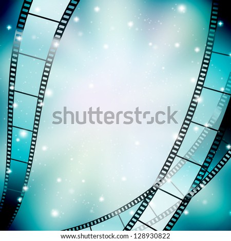 background with filmstrip and stars - stock vector