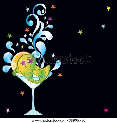 Background with fish in cocktail and place for text