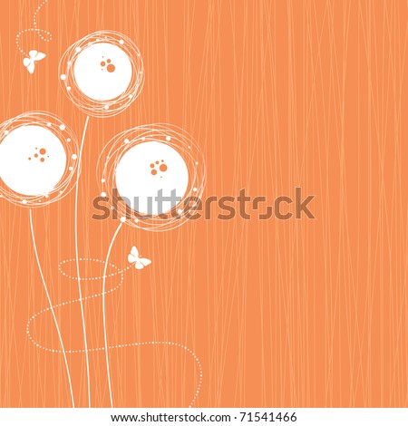 background with flowers and butterflies, vector