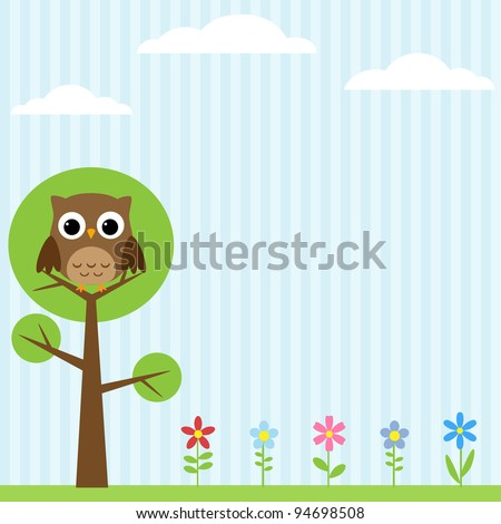 Background with flowers and owl sitting on the tree - stock vector