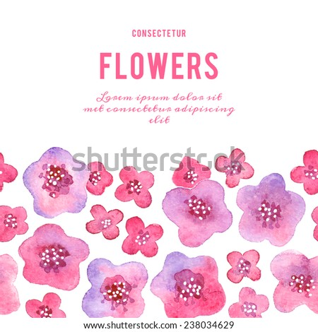 Background with flowers. Watercolor violets. Vector illustration.