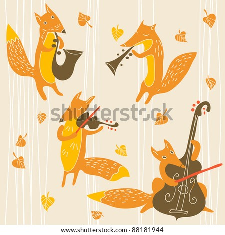 background with foxes