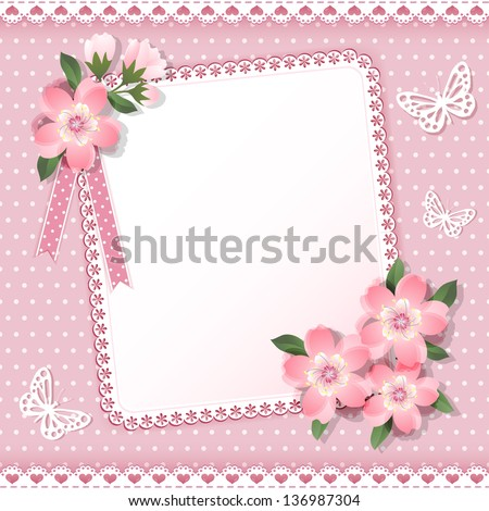 Background  with frame and flowers. Vector.