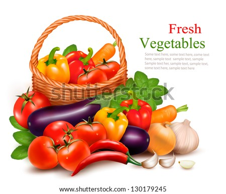 Background with fresh vegetables in basket. Healthy Food. Vector illustration