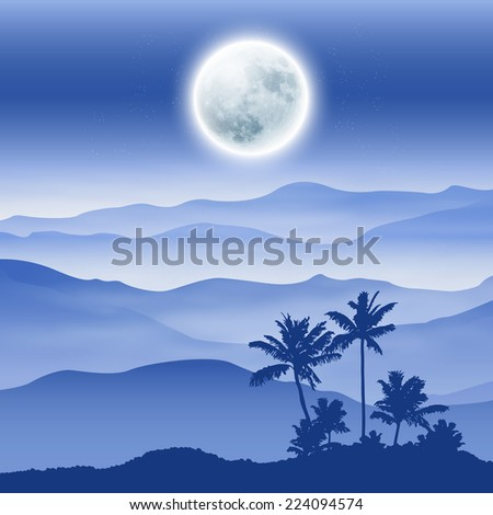 background with fullmoon  palm
