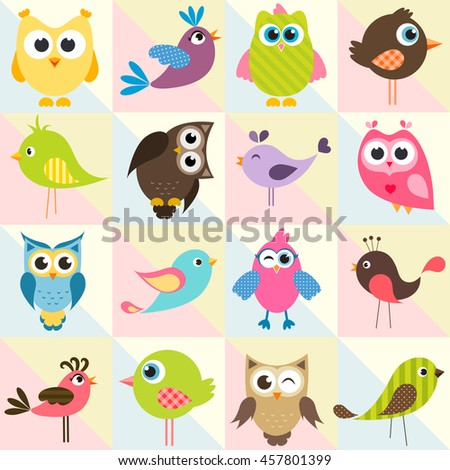 background with funny birds and