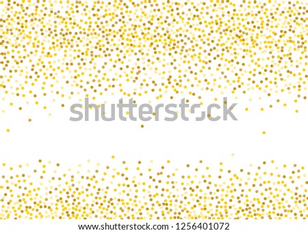 Background with Golden glitter, confetti. Gold polka dots, circles, round. Typographic design. Bright festive, festival pattern for party invites, wedding, cards, phone Wallpapers. Vector illustration #1256401072