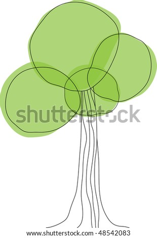 Background with green tree. Vector illustration