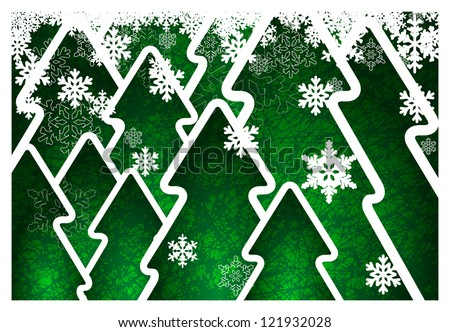 Background with green trees and snowflakes - stock vector