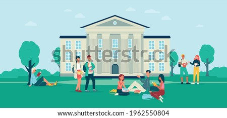 Background with groups of students in front of college campus building, flat vector illustration. College or university campus backdrop template with young people.