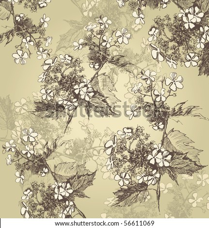 background with hand drawn guelder roses