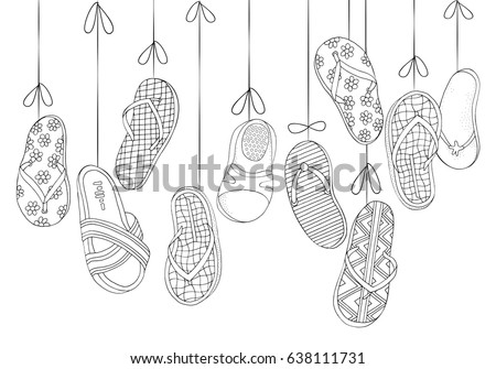 Background With Hanging Beach Shoes Hand Drawn Set Of Summer Doodles Elements In Vector Page Flips