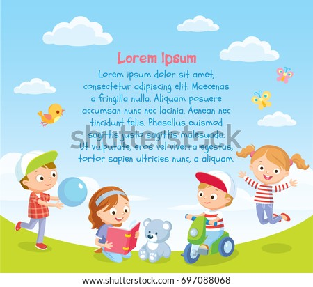 Background with  happy kids playing