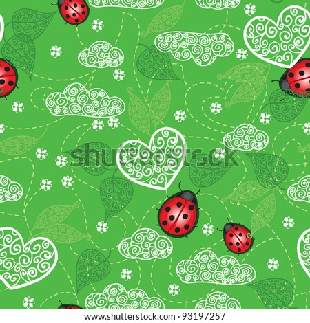 Background with hearts, ladybug  and leaves
