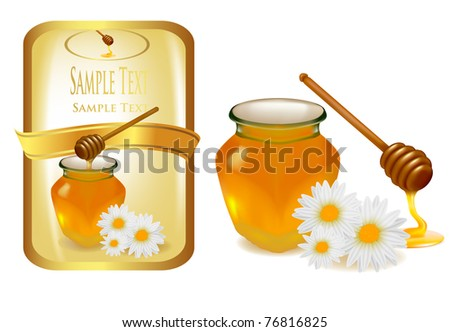 background with honey and wood