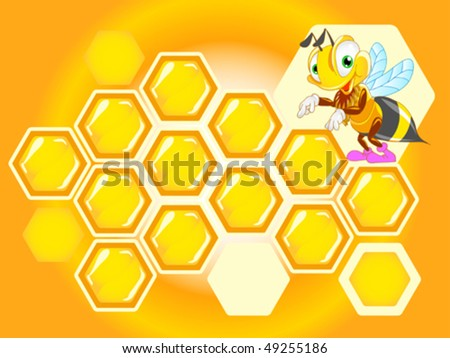 background with honeycomb and funny bee