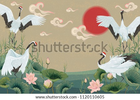 background with japanese cranes at sunset