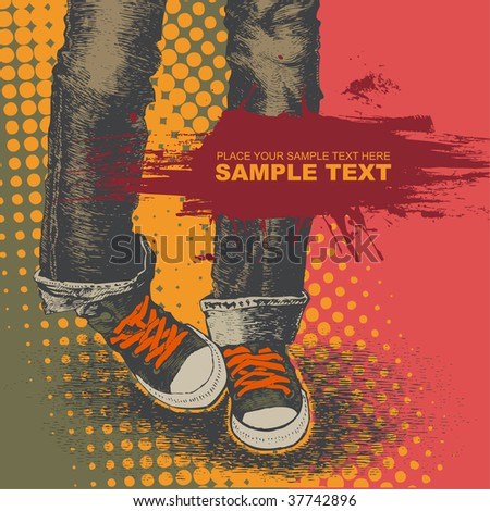background with jeans and sneakers. vector illustration. for CD cover
