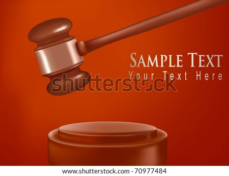 Background with judge gavel. Photo-realistic vector.
