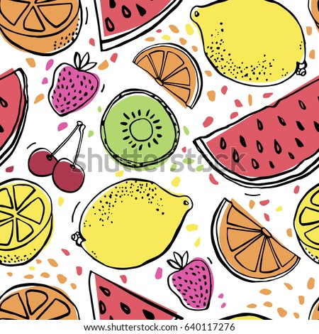 Background with juicy fruits. Fruit seamless pattern. Vector illustration