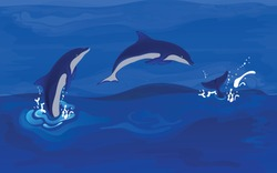 Background with jumping dolphins from the sea